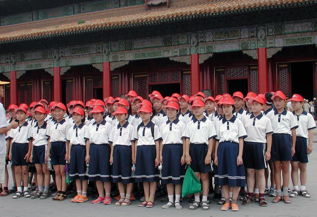 Students line up during their trip to the Forbidden City