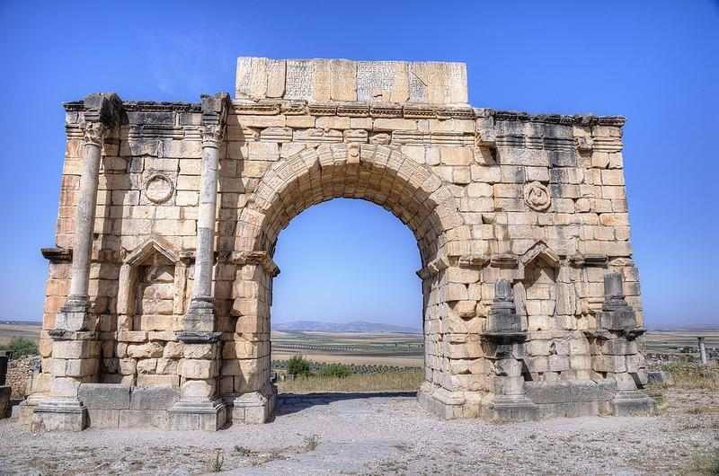 The remains of an arch in Volubilis, Morocco