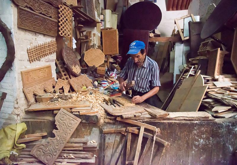 Woodworker's shop in the Fez medina